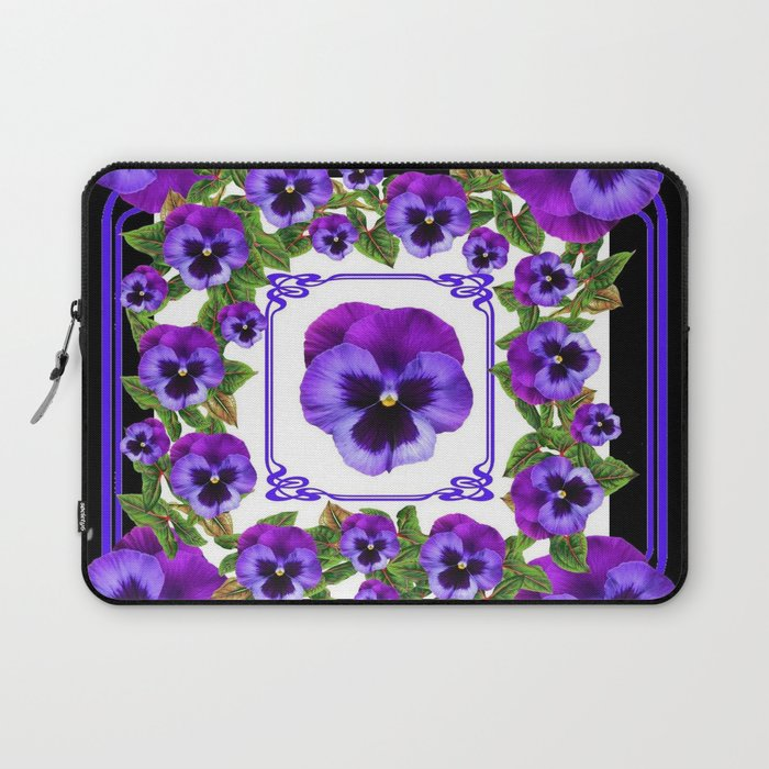 SPRING PURPLE PANSY FLOWERS  BLACK GARDEN ART Laptop Sleeve