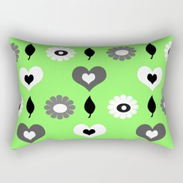 Daisy & heart monochrome on leaf green Rectangular Pillow