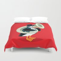 puffin Duvet Covers featuring Puffin On A Tuba by Oliver Lake