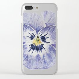Purple Pansy Clear iPhone Case