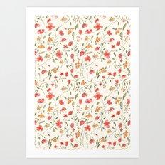 Red and Orange Vintage Floral Pattern Art Print