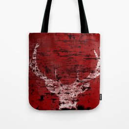 Industrial White Deer Silhouette on Red A313 Tote Bag