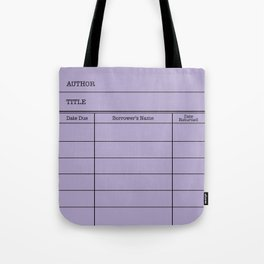 LiBRARY BOOK CARD (violet) Tote Bag