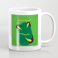 trex Mugs featuring No047 My Jurasic Park minimal movie poster by Chungkong