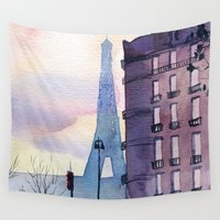 paris Wall Tapestries featuring Paris by Emma Reznikova