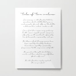 The Tale of Two Wolves Script Metal Print