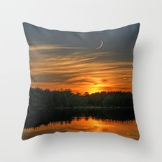 Sunset, Lake, Pine Forest & Crescent Moon Composite Throw Pillow