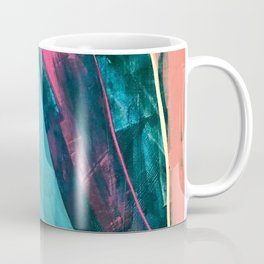 Wild [7]: a bold, colorful abstract mixed-media piece in teal, orange, neon blue, pink and white Coffee Mug
