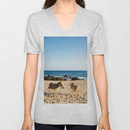 Donkeys on the beach Unisex V-Neck