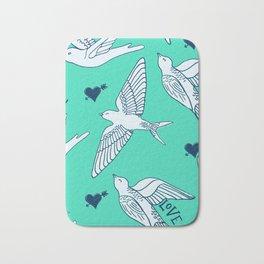 Love Swallows, Valentines love birds on biscay green Bath Mat