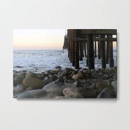 Ocean Wave Storm Pier In Ventura Metal Print