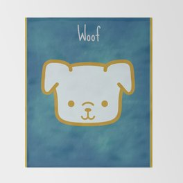 Woof - Dog Graphic - Chalkboard Inspired Throw Blanket