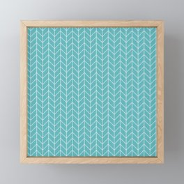 Nautical Navy Herringbone Pattern - White on Aqua Framed Mini Art Print