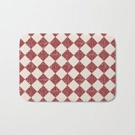 Farmhouse Checkerboard in Brick Red on Cream Bath Mat