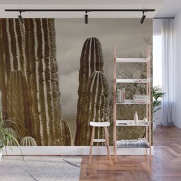 Saguaro Against the Misty Mountains Wall Mural