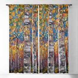 Autumn Aspen Colors Palette Knife Blackout Curtain