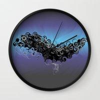 cthulu Wall Clocks featuring Cthulu's Flight  by Watch House Design