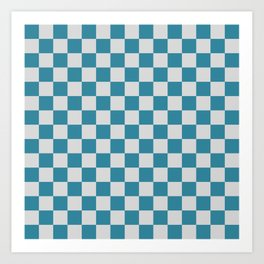 Teal and Grey Check Art Print