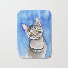 meow? // watercolor tabby cat portrait Bath Mat
