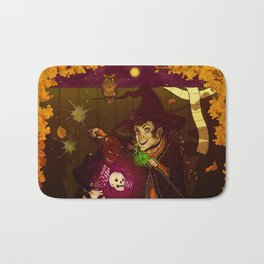 Witch and Wizard of Halloween Bath Mat