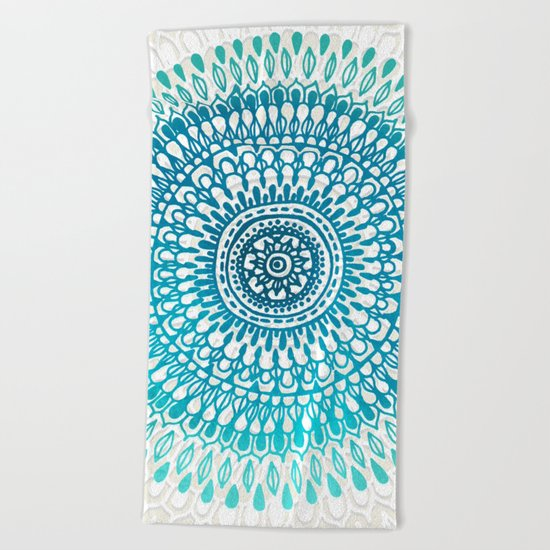Radiate in Teal + Emerald Beach Towel