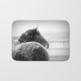 Horse in Winter when Snowing Painting Style Bath Mat