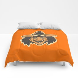 Retro Creepy Halloween Witch Mask Face Comforters
