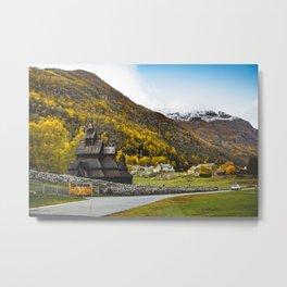 Borgund Stave Church. || Black Wooden Church in Norway. || Mountain Sight Mood. || Madara Travels. Metal Print