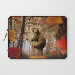 Brown bear climbing on tree Laptop Sleeve