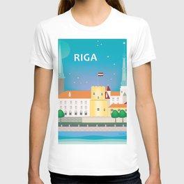 Riga, Latvia - Skyline Illustration by Loose Petals T-shirt