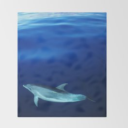 Dolphin, blue and sea Throw Blanket