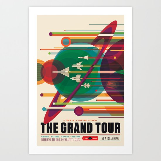 NASA Retro Space Travel Poster The Grand Tour by fineearthprints