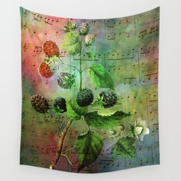 Blackberry Music, Vintage Botanical Illustration Collage Art Wall Tapestry