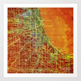 10-Chicago Illinois 1947, old map, orange and red Art Print