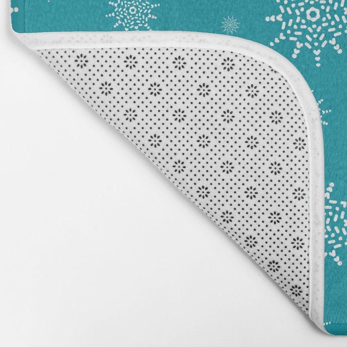 White Snowflakes on Turquoise Bath Mat