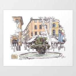 Fountain at Cours Mirabeau, Aix-en-Provence Art Print