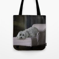 sofa Tote Bags featuring Me and My Sofa by Anthony M. Davis