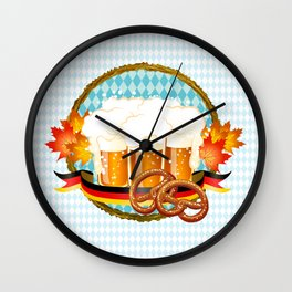 Beer, Pretzel, Oktoberfest! Wall Clock