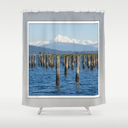MOUNT BAKER KOMA KULSHAN AND OLD PILINGS  Shower Curtain
