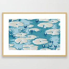 Monets Waterlily Pattern — Teal Framed Art Print
