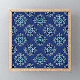 Grey, Teal and Navy Repeating Tile Digital Design Framed Mini Art Print