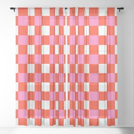 Red Chessboard Sheer Curtain