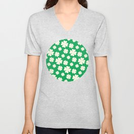 Off-White Four Leaf Clover Pattern with Green Background Unisex V-Neck