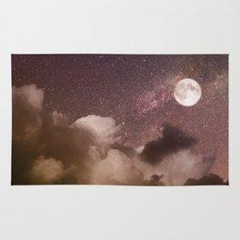 Celestial Night Sky and Full Moon Rug