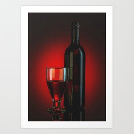 Red Wine Glass And Bottle Art Print