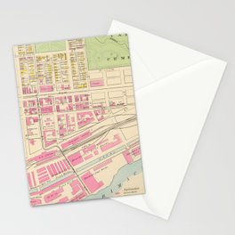 Vintage Map of Manchester NH (1892) (2) Stationery Cards