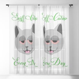 Sniff Catnip Every day Sheer Curtain