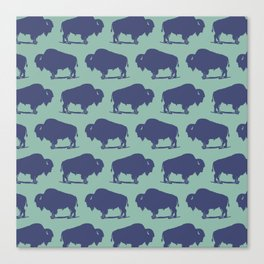 Buffalo Bison Pattern Blue and Turquoise Canvas Print