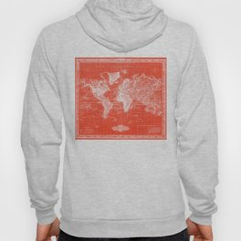 Vintage Map of The World (1833) Red & White Hoody