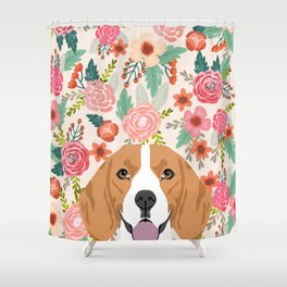 Beagle florals cute spring pet portrait dog lover gift idea beagle owners must haves flower power Shower Curtain
